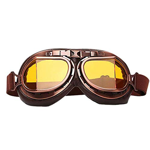 Gafas de Motocicleta Retro Profesionales,Gafas clásicas de Moto Vintage para Harley Pilot Steampunk ATV,Casco de Cobre para Bicicleta
