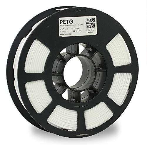 KODAK PETG Filament 1.75 mm mm für 3D- Drucker, Weiß, Maßgenauigkeit +/- 0.03mm, 750g Spule, PETG Filament 1.75 als 3D-Drucker-Filament zum Nachfüllen von fast allen FDM-Druckern benutzt