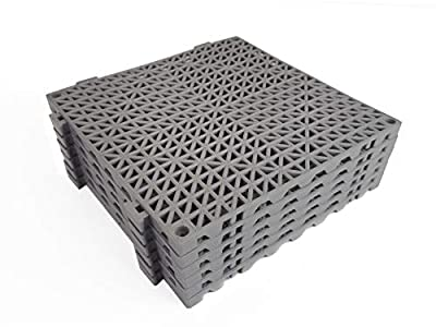 "VinTile Modular Interlocking Cushion Floor Tile Mat Non-Slip with Drainage Holes for Pool Shower Locker-Room Sauna Bathroom Deck Patio Garage Wet Area Matting (Pack of 6 - 11-3/4"" x 11-3/4"", Gray)"
