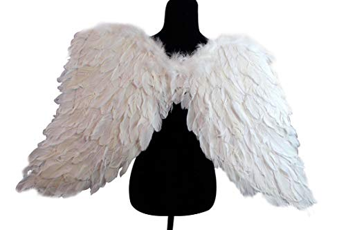 White M Turkey and Goose Feather White Angel Wings Costume, Party, Photography Fun Dress Up Angel Wing