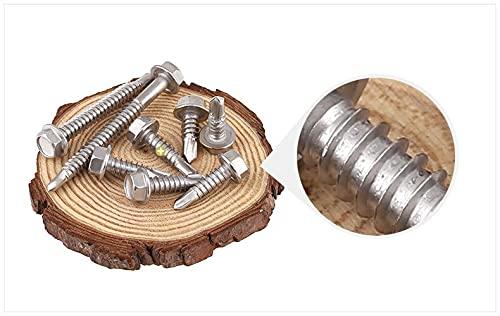 De múltiples fines 410 Acero inoxidable M5.2 * 19/25-125 con lavadora a prueba de agua Hexagonal externo Autor de taladrado Tornillo de tornillo tapping Tornillo de cola para el hogar de madera o bric