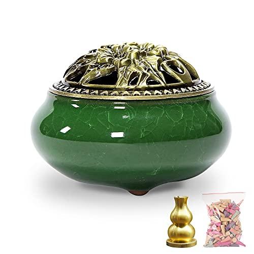 Incense Burner with Brass Incense Holder, Ceramic Incense Burner, Suitable for Linear/Cone/Pan Incense Stick Burner, There are 30 Incense Cones Inside (Emerald Green)