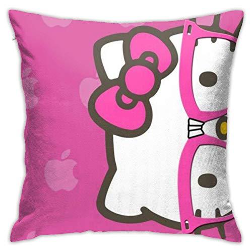 N\A Hello Kitty con Gafas, Fundas de Almohada, Funda de cojín Decorativa de Forma Cuadrada para sofá, Juego de Almohada