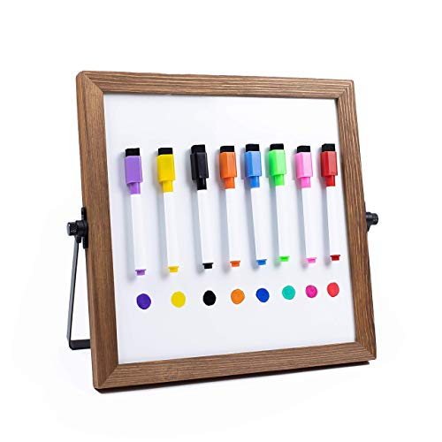 """Desktop Dry Erase Board Personal Whiteboard with Stand! 11 x 11"""" Double-Sided Magnetic Dry Erase Board and 8 Dry Erase Markers with Eraser. Small White Board, Writing Board, Wooden Frame for Students"""