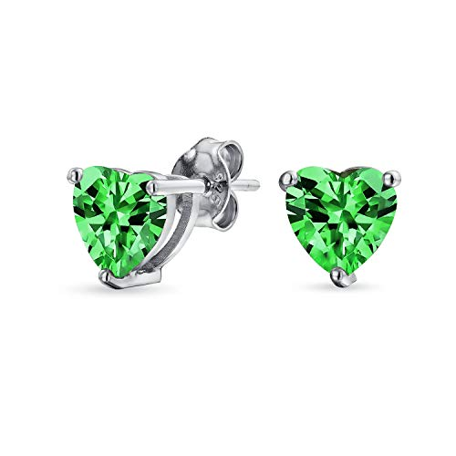 1Ct Green Cubic Zirconia Heart Shaped AAA CZ Solitaire Stud Earrings For Women Simulated Emerald 925 Sterling Silver 7MM