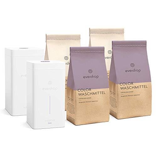 Voll- & Colorwaschmittel CO2 Spar Set - inkl. Aufbewahrungsboxen - umweltschonend abgestimmt auf Deine Wasserhärte - 76 Waschladungen für hartes Wasser (<14°dH)