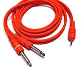 Studiomixer 3.5mm to Dual 6.5mm Adapter Jack Audio Cable Double 6.35mm Male 1/4' Mono Jack to Stereo 1/8' 3.5mm Jack aux Cord (colour may varies)