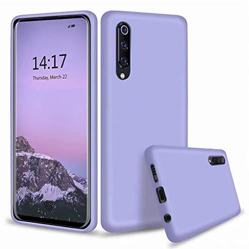 NiaCoCo Compatibile con Custodia Xiaomi Mi 9 Ultrasottile Antiurto Silicone Liquido Caso Gomma Morbida in Gel Copertura Protettiva Antigraffio(Blu viola)