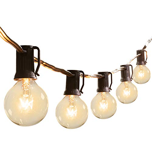 Brightown G40 Outdoor Patio String Light-25FT Connectable Globe Lights with 26 Clear Bulbs(1 Spare), UL Listed Backyard Lights for Indoor Commercial Decor, 25 Hanging Sockets, E12 Base, 5W Bulb, White