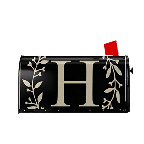 """MSGUIDE Magnetic Mailbox Cover Classic Monogram Letter H Mailbox Wraps Post Classic Monogram Letter Box Cover Waterproof Mailwraps Standard Size 18"""" X 21"""" for Welcome Home Garden Yard Decor"""