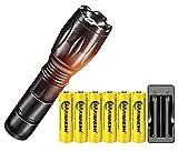 Linterna LED Alta Potencia Linternas táctica Lámpara,Con 6PCS Alta capacidad Recargable 3.7V 18650 Batería + Cargador USB