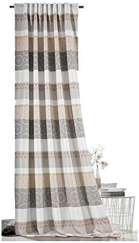 heimtexland ® Dekoschal Marokko Blickdicht in Macadamia HxB 245x140 cm mit Multifunktionsband Schlaufenschal und Faltenband Ornamente Tribals Orientalisch Gardine Marrakesch Typ576