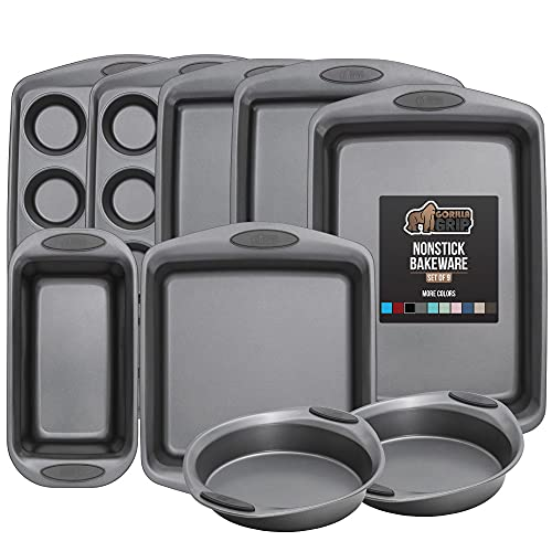 Gorilla Grip Bakeware Sets, Nonstick, Heavy Duty Carbon Steel, 9 Piece Baking Set, Silicone Handles, 2 Large Cookie Sheets, 2 Round Cake Pans, 2 Muffin Pans, Loaf Pan, Oven Roaster, Square Pan, Gray