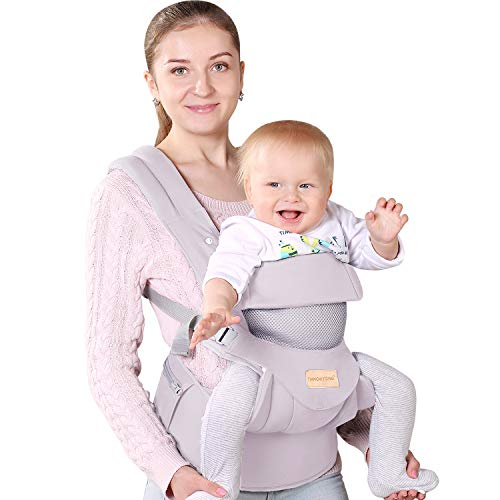 Ergonomic Baby Carrier with Hip Seat Soft & Breathable Baby Carriers,All Positions Front and Back for Infants to Toddlers,Up to 38lbs,Grey (light grey)…