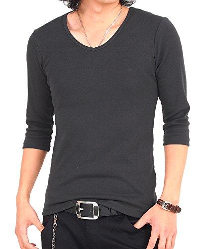 [エムシー] メンズTシャツ 無地 7分袖 七分袖 Vネック インナー ティーシャツ カットソー ー 3-Charcoal-7分袖 Mサイズ