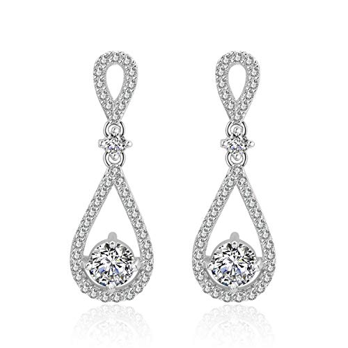 Infinity Dangle Earrings for Wedding - Womens Sterling Silver Open Teardrop Cubic Zirconia Crystal Bridal Earring for Bride Bridesmaids Mother of Bride Rhinestone Drop Earrings for Party Prom