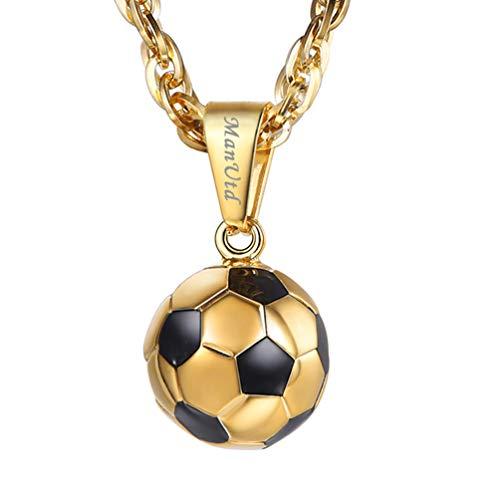 PROSTEEL 3D Fußball Design Anhänger Halskette 18k vergoldet Name Gravur Ball Form Kettenanhänger mit Kette Damen Herren Personalisierte Halsschmuck, Gold