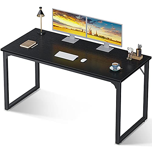 """Coleshome Computer Desk 55"""", Modern Simple Style Desk for Home Office, Sturdy Writing..."""
