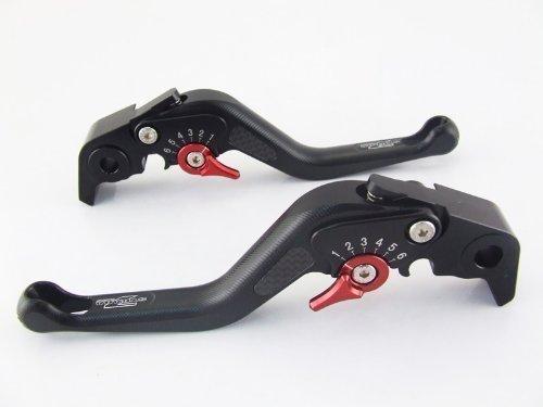Strada 7 Racing Carbone Court Réglable Levier Paire Noir pour Kawasaki Ninja 650R (ER-6f ER-6n)