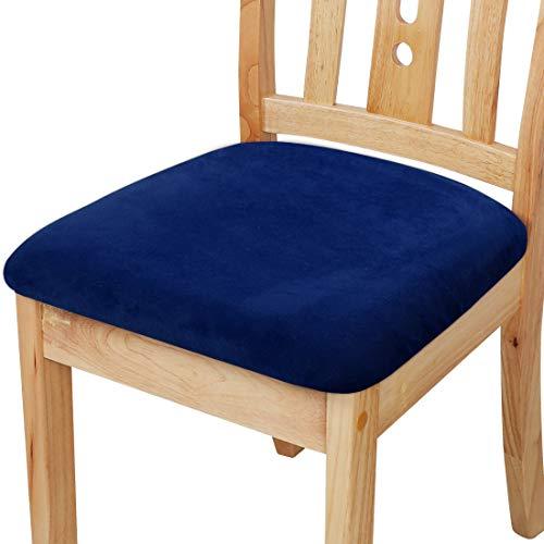 PiccoCasa - Funda de cojín con lazos, terciopelo elástico impreso para sillas de comedor, cocina, juego de 6 unidades, color azul marino