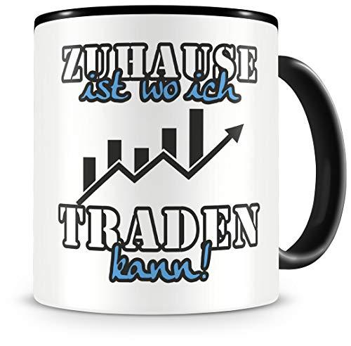 Samunshi® Traden Tasse mit Spruch Zuhause ist Traden Geschenk für Traden Fans Kaffeetasse groß Lustige Tassen zum Geburtstag schwarz 300ml