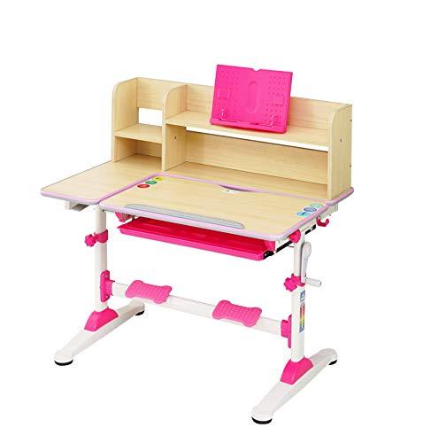 HS-Lighting Kinderschreibtisch, höhenverstellbar, neigbar Schreibtisch für Schüler mit Bücherregal und Schublade, B/T/H: 95,9 x 53 x 84-109 cm (Rosa)