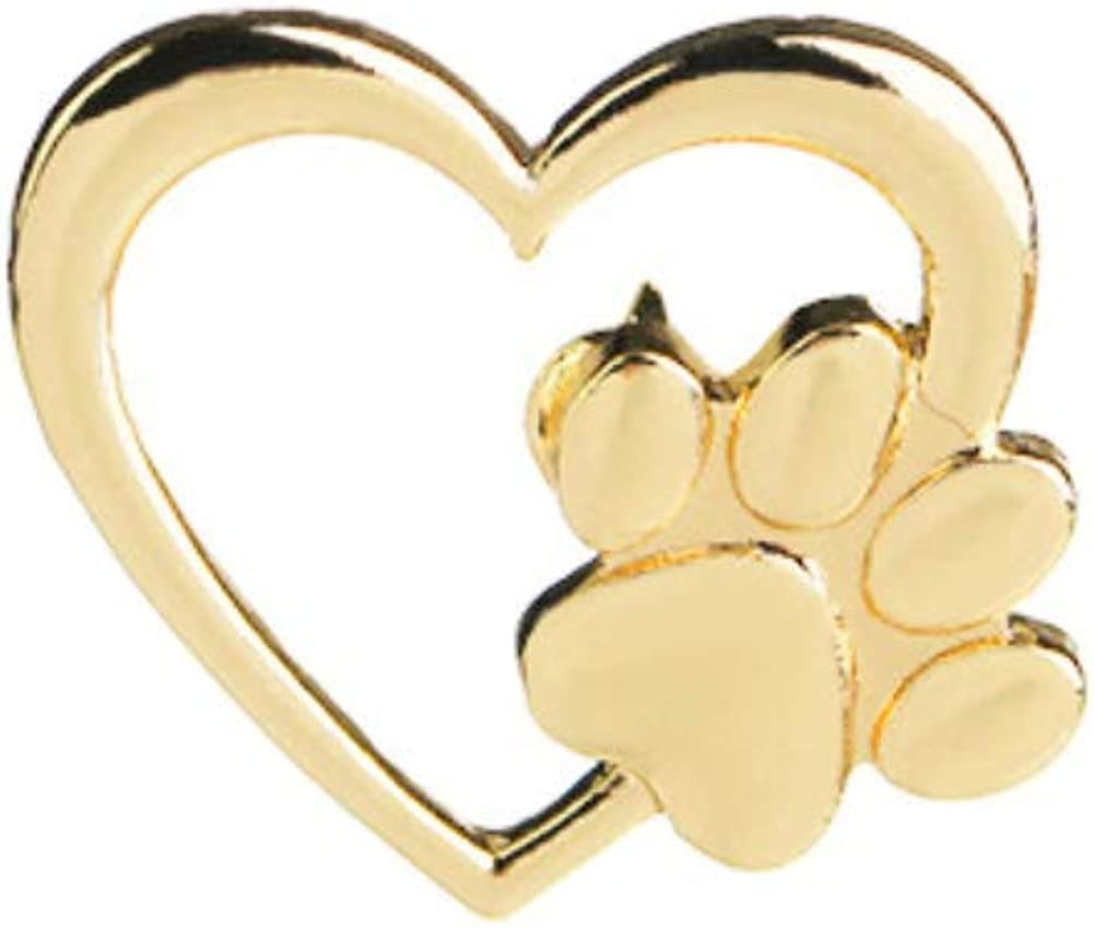 JENPECH Brooch Pin for Unisex,Love Heart Paw Brooch Pin Scarf Sweater Dress Decor Gift - Golden