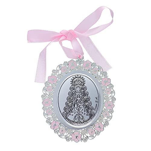 Medalla para Cuna/Carro Virgen del Rocío Esmalte Rosa Plata Bilaminada