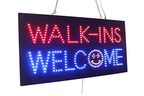 Walk-ins Welcome Sign, TOPKING Signage, LED Neon Open, Store, Window, Shop, Business, Display, Grand Opening Gift