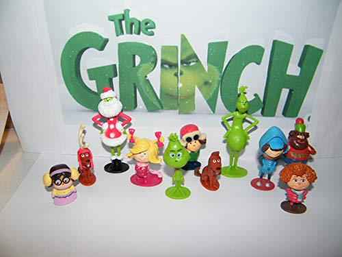 The Grinch Movie Quality Party Favor Figure Toy Set of 14 with 12 Figures with All New and Original Charaters including Max, Cindy-Lou and More!
