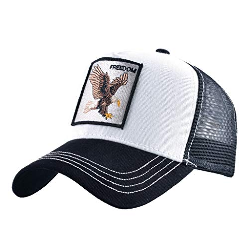 Unisex Animal Mesh Trucker Hat Strapback Square Patch Baseball Caps (One Size, Black White)