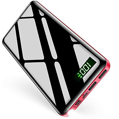 【26800mAh & LEDライト付き & PSE認証済】 モバイルバッテリー 大容量 急速充電 3in1入力ポート(micro USB/Type-Cなどに適合する) ケーブル1本で充/蓄電 LCD残量表示 最大2.1A出力 2USBポート 二台同時充電 スマホ充電器 携帯充電器 旅行/出張/緊急用 防災グッズ DeliToo (レッド)