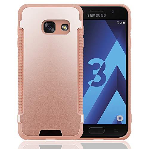 N NEWTOP Cover Compatibile per Samsung Galaxy A3 2017, Custodia MOTOMO Grip TPU Alluminio Resistente Flessibile Case Posteriore Protettiva (Rosa)