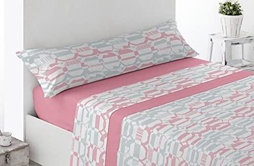DESING Power-Textil-VIP-HOGAR: Juego SÁBANAS Invierno TÉRMICAS PIRINEO 3 Piezas Suaves cómodas Confortables. (Ronda-Rosa, 150 X 190/200CM)