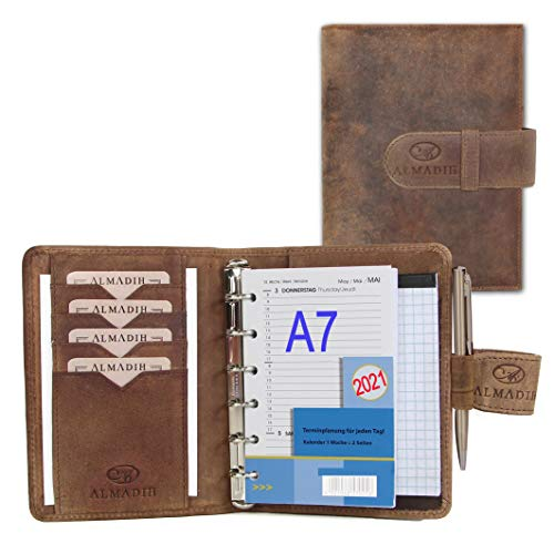 ALMADIH Leather A7 Planner with Rings, Calendar 2021 + Writing Pad, Premium Cow Leather Brown Vintage - Personal Organizer Conference Folder System Ring Binder Zipper Portfolio Folio Workbook