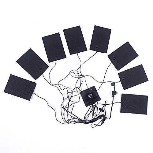 CVBN 8 en 1 Pieza calefactora Temperatura Ajustable USB calefacción eléctrica Fibra de Carbono, Negro