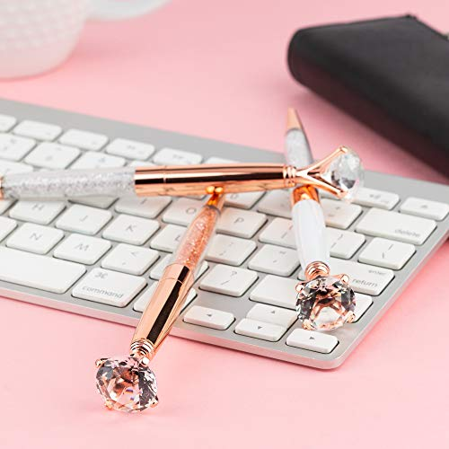 Pen Gift Set for Women - 3 Rose Gold Big Diamond Pens with Crystals in a Pink Gift Box – Rose Gold, White, Rose Gold, Fancy, Bling Top Ballpoint Writing Pens, Black Ink/Medium Point Photo #6
