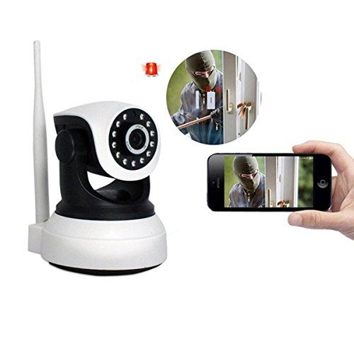 IP de la cámara de Seguridad Wi-Fi 1080p día de la Noche, con IR-Cut/WiFi, función de Alarma, Lente infrarroja, Soporte para iOS, Smartphone Android, Pad y PC (Blanco)
