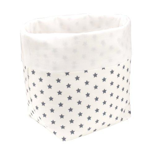 Sugarapple Utensilo Stoff Aufbewahrungsbox aus Baumwolle 19 x 13,5 x 13,5 cm, Stoffbox fürs Bad, als Wickeltisch Organizer oder Windelspender Korb, Sterne Grau