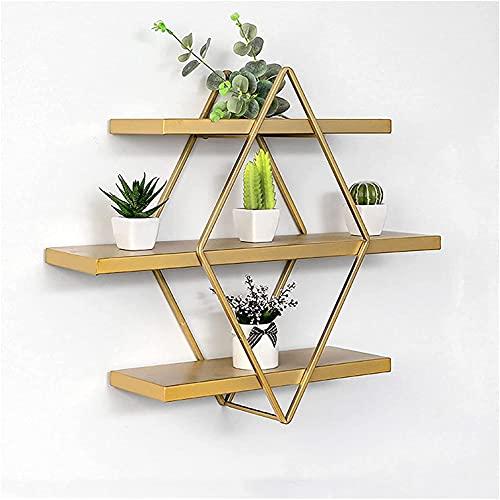 HTDHS Estantería de metal flotante para pared, ideal para dormitorio, sala de estar, oficina, almacenamiento, pequeño (tamaño mediano)