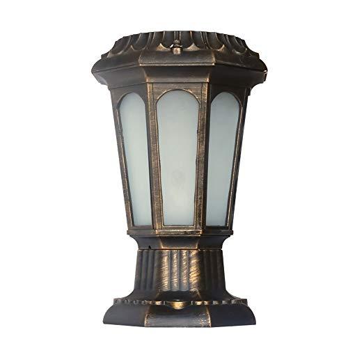 Libuty Colonne Solaire Head Light Applique Lampadaire de Jardin Lumière d'extérieur Home Street étanche Lumière Porte lumière, Outdoor Lumières Luminaires Bronze Jardin et extérieur