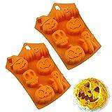 HPiano 2 Stück Halloween Kürbis Silikon Backform Schokoladenform Cupcake Pudding, Eiswürfel und...