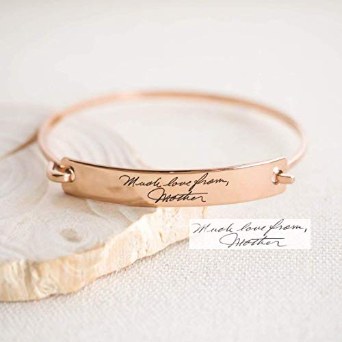 Custom Actual Handwriting Jewelry Handwriting Bangle Engrave Signature Bracelet Sentimental Gift Mother Gift Sterling Silver Personalized