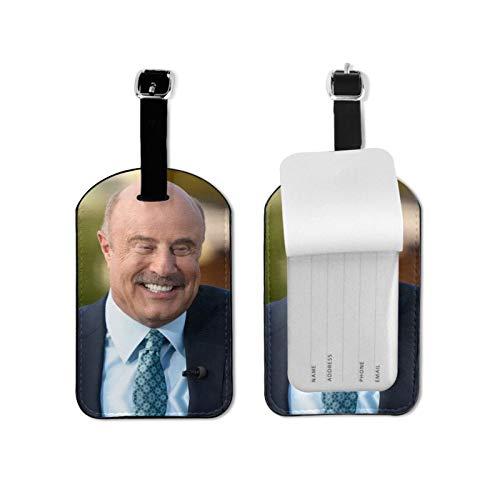 Dr Ph-il Etiquetas de equipaje de cuero personalizado maleta Tag Set equipaje etiquetas de identificación de accesorios de viaje microfibra pu cuero 2.7* 4.3 pulgadas