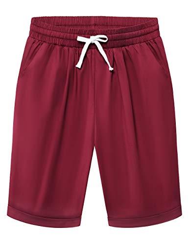 DRESSTELLS Womens Bermuda Shorts Elastic Waist Summer Pull up Short Beach Lounge Pocketed Pants with Drawstring Dark Red L