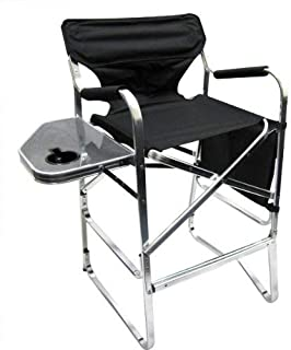 Professional EZ Travel Collection, Deluxe Tall Folding Directors Chair, Foldable Chair with Side Table and Cup Holder XL Comfort Design
