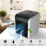 Portable Air Conditioner,Personal Air Cooler, Mini Air Coolers,3-in-1 Portable Table Fan with 3 Fan Speeds, Mini Air Conditioner for Office, USB Charging,7 Color Night Light (Black (2020 NEW))