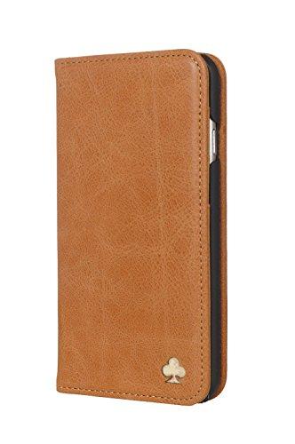 Porter Riley - Lederhülle für HTC U11. Premium Echtleder Standhülle/Cover/Brieftasche kompatibel mit HTC U11 (Hellbraun)