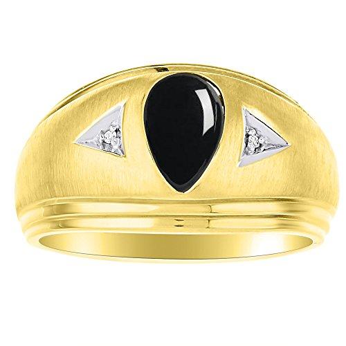 Diamond y negro Onyx anillo 14K oro blanco banda