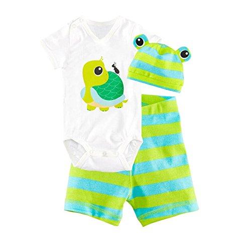 CuteOn 3 Packs Unisex B¨¦b¨¦ Infant manches courtes en coton V¨ºtements Set Pantalons Hat Bodysuit Vert Tortue 80cm